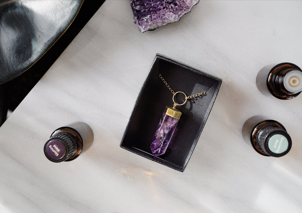 Amethyst Crystal Point Aromatherapy Necklace [G]+[S] - Lava Essential Oils