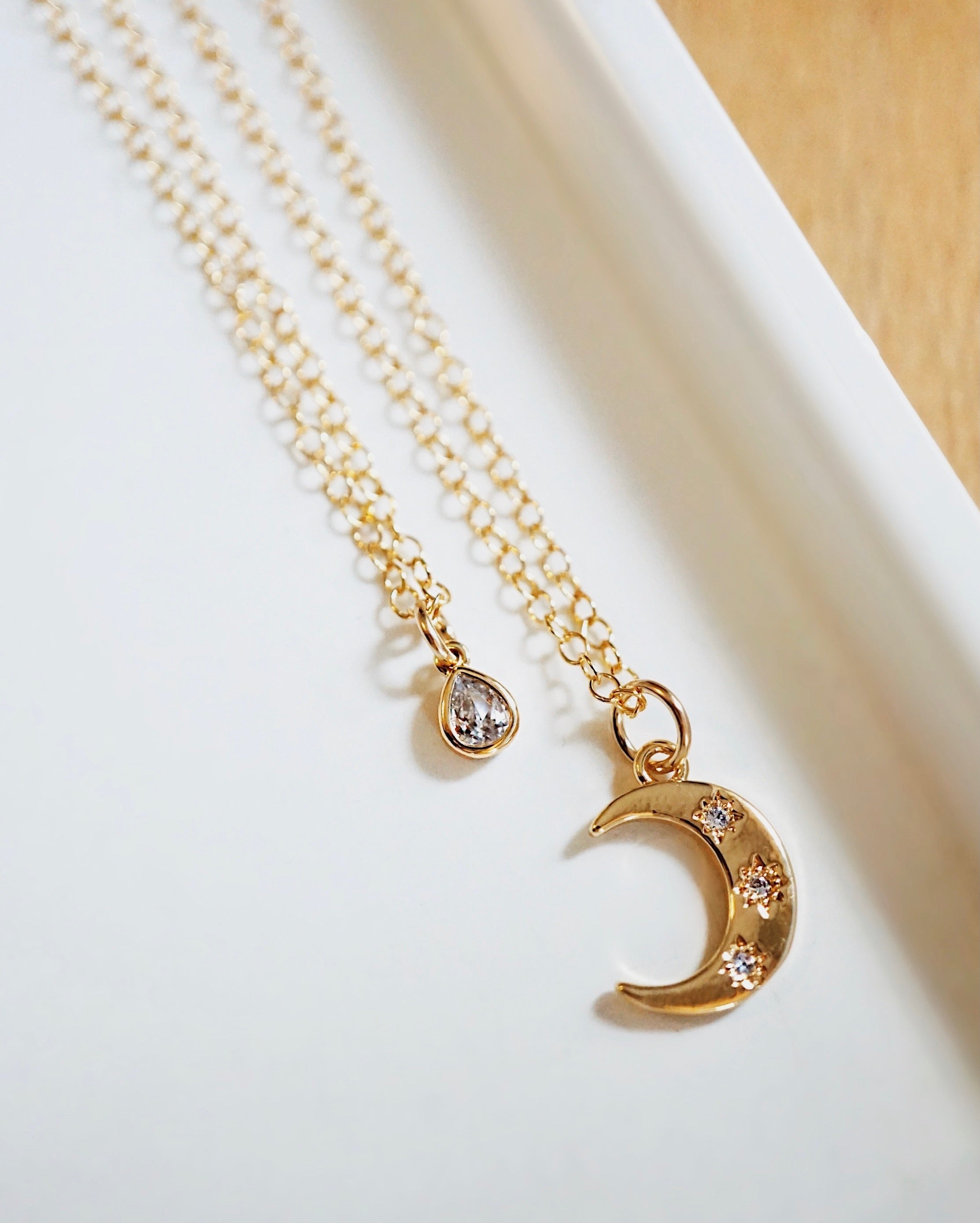 DROPLET ✶ Celestial Collection ✶ Dainty Teardrop Necklace + Lava Charm