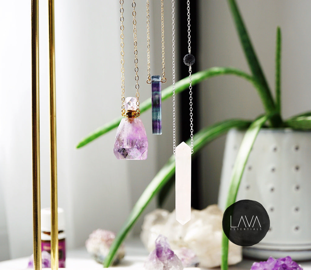 Amethyst Petite Gemstone Perfume Bottle Essential Oil Necklace, Silver or Gold [S]+[G] - Lava Essential Oils