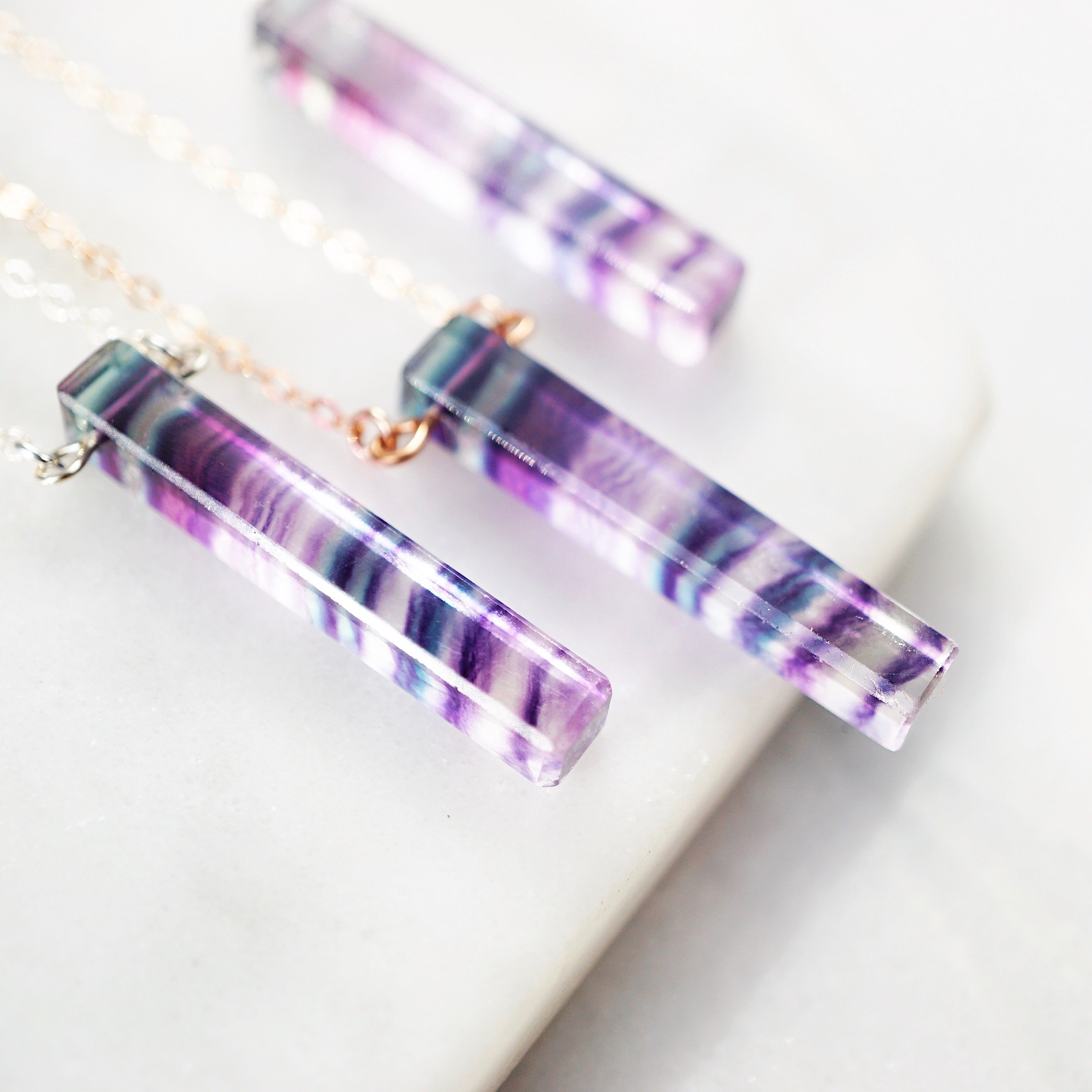 NEW Stone & Length! Rainbow Fluorite Bar Aromatherapy Necklace [G]+[S]+[RG] - Lava Essential Oils