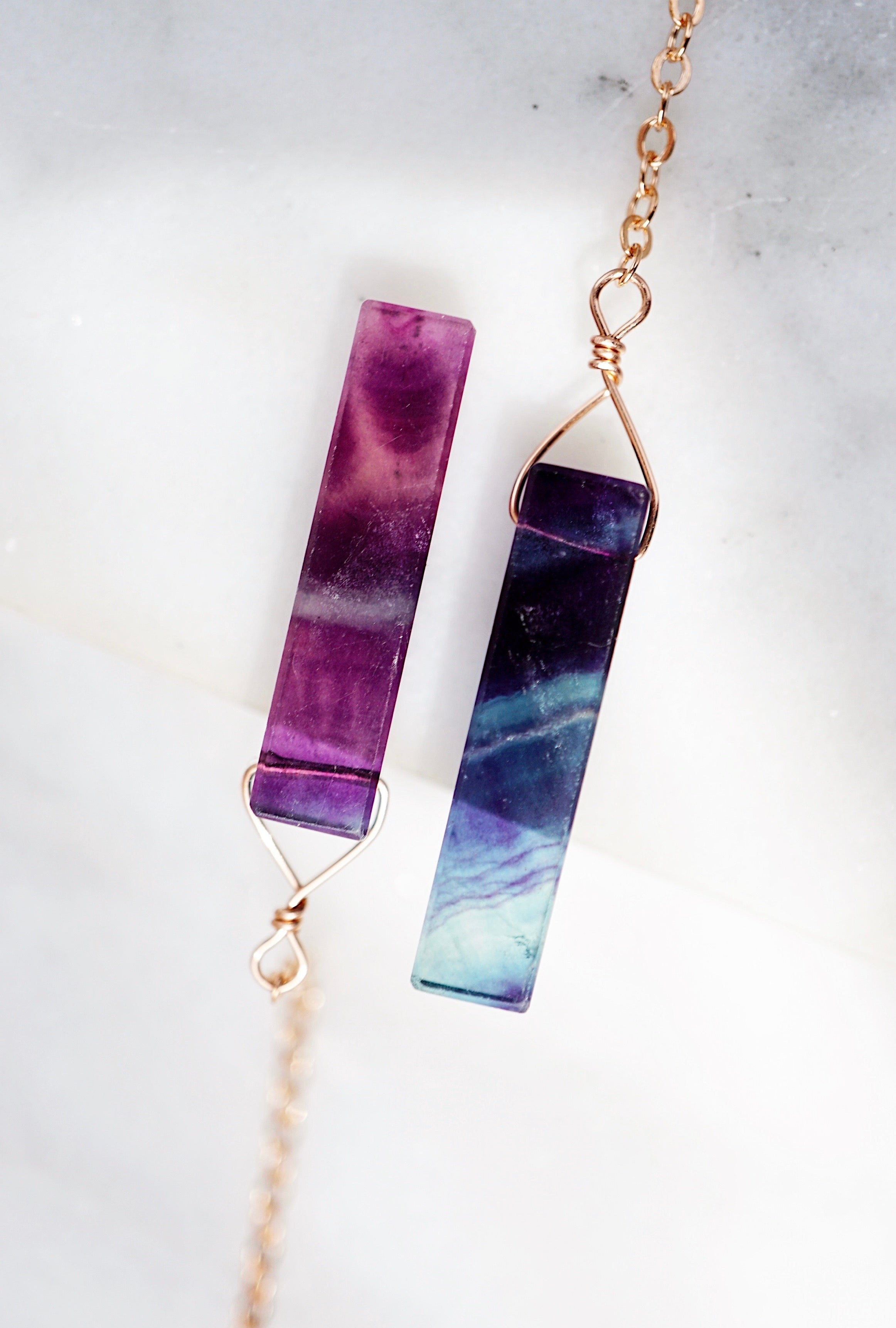 Rainbow Fluorite Bar Aromatherapy Necklace