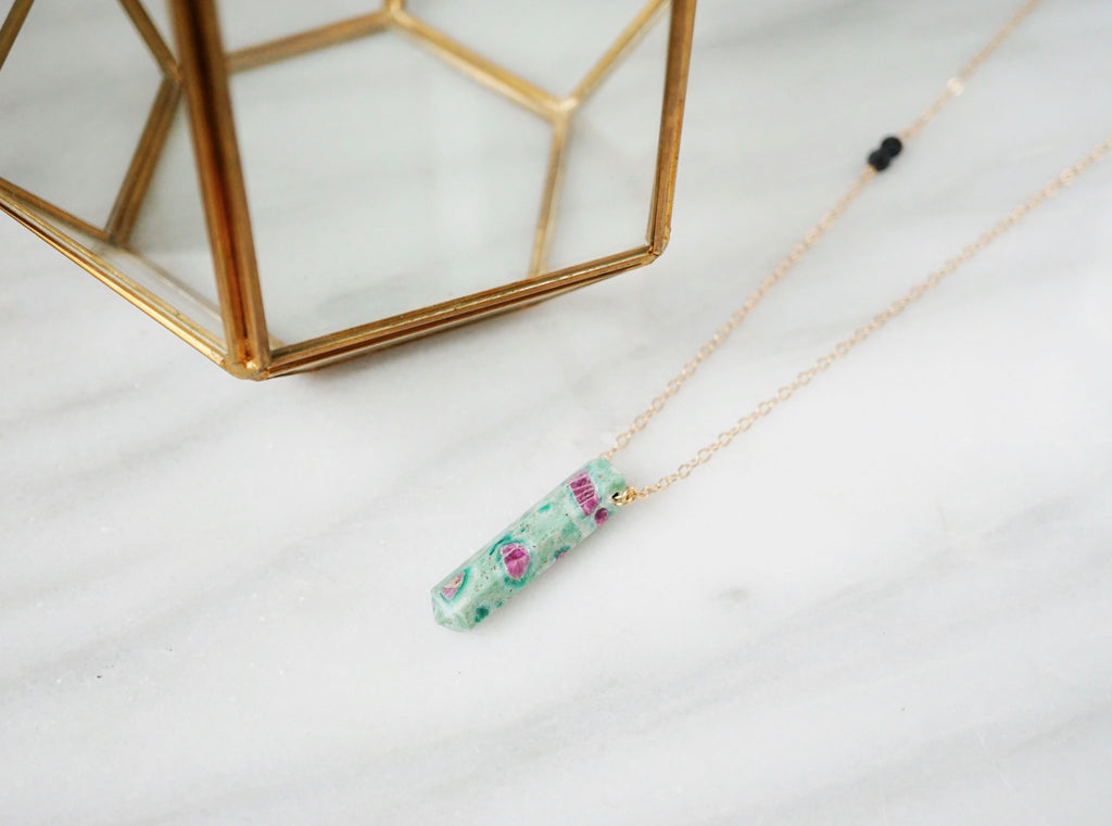 Ruby Zoisite Aromatherapy Necklace [G]+[S] - Lava Essential Oils