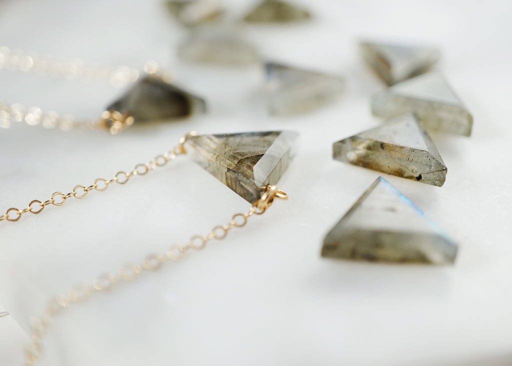 Petite Labradorite Triangle Necklace, Natural Lava Extender [G]+[S] - Lava Essential Oils