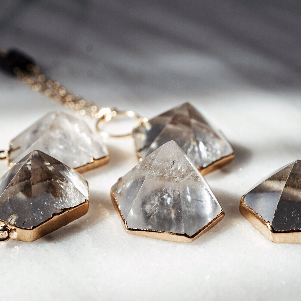 Quartz Crystal Gold Electroplated Aromatherapy Necklace [G] - Lava Essential Oils
