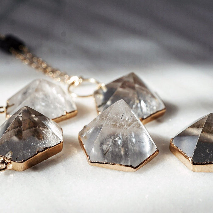 Quartz Crystal Gold Electroplated Aromatherapy Necklace - Lava Essential Oils