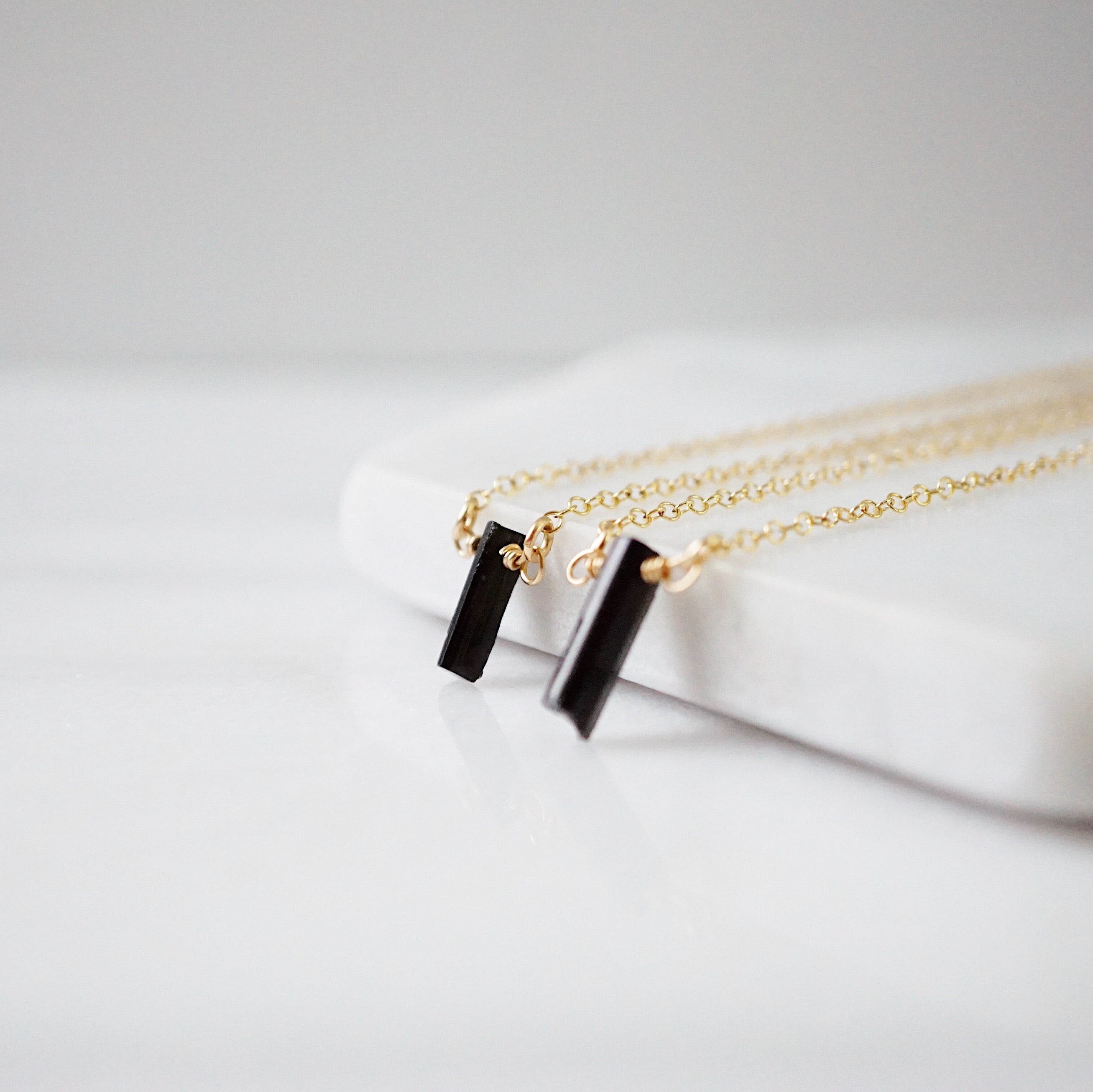 EMF Collection ☼ Dainty Wire Wrapped Raw Black Tourmaline Necklace [G]+[S] - Lava Essential Oils