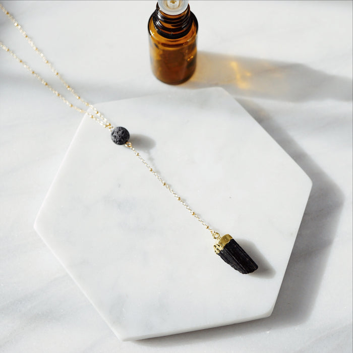 Black Tourmaline & Lava Stone Aromatherapy EMF Necklace [G] - Lava Essential Oils
