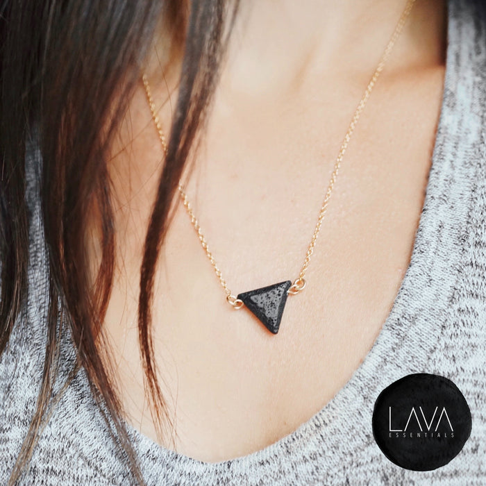 NEW Minimalist Lava Triangle Essential Oil Diffuser Necklace [G]+[S]+[RG]