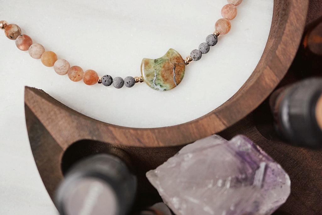 LUX Dainty Lava Bracelet ▾ Green Opal Crescent, Sunstone, Rose Gold - Lmtd Edition - Lava Essential Oils