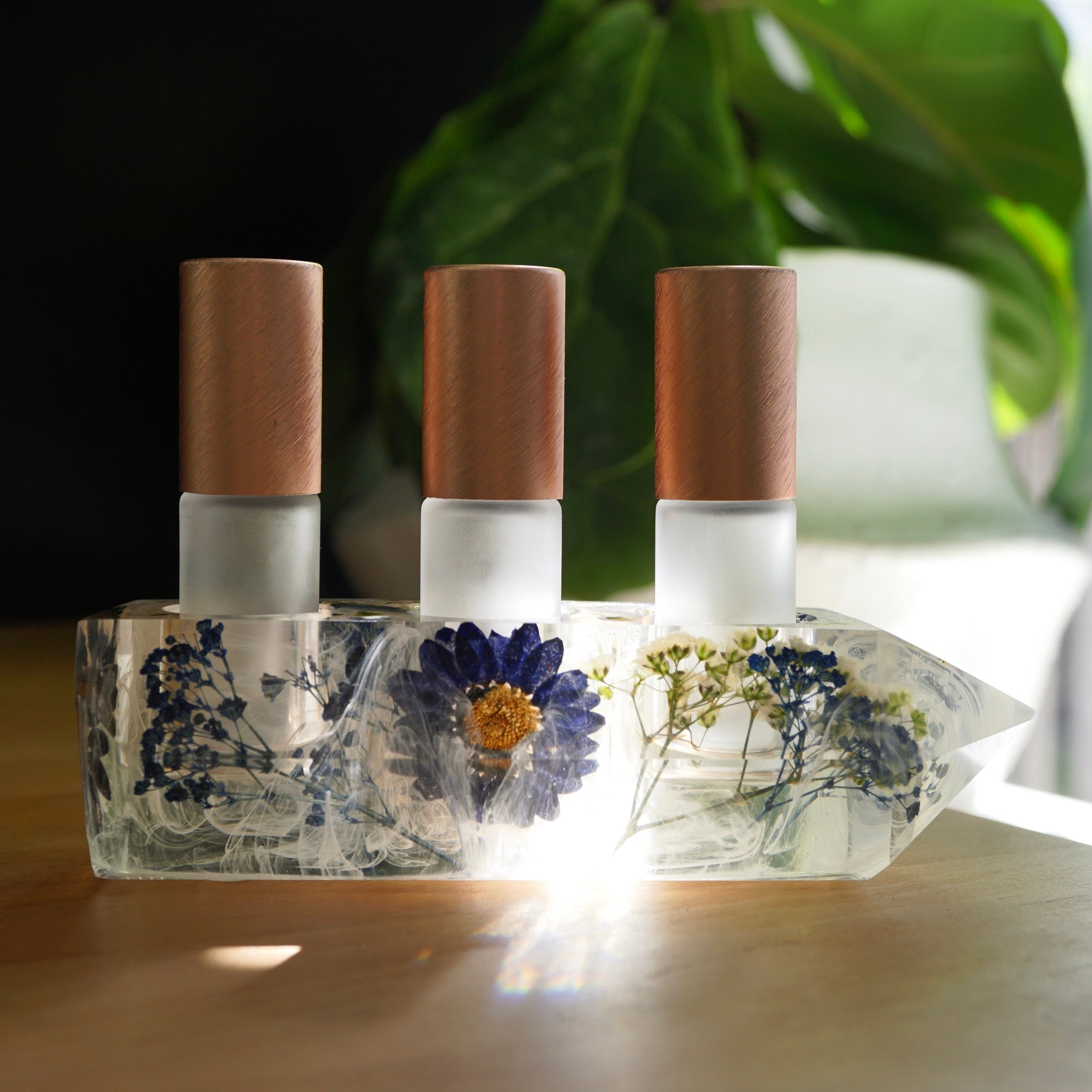 One-of-a-kind Botanical + Quartz Crystal Point Essential Oil Holders (023)