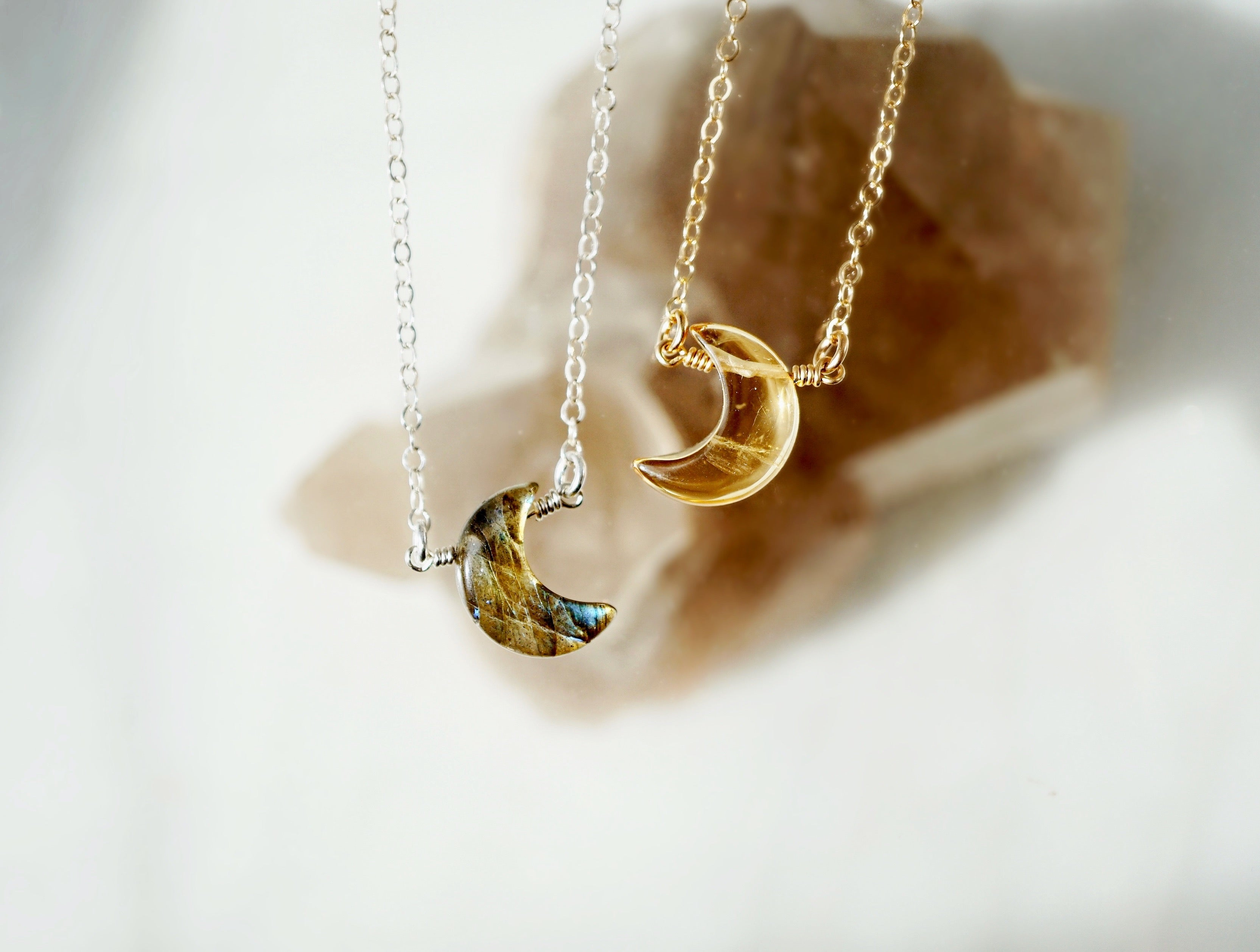 LUNA ✶ Celestial Collection ✶ Dainty CITRINE Crescent Moon Necklace + Lava Charm