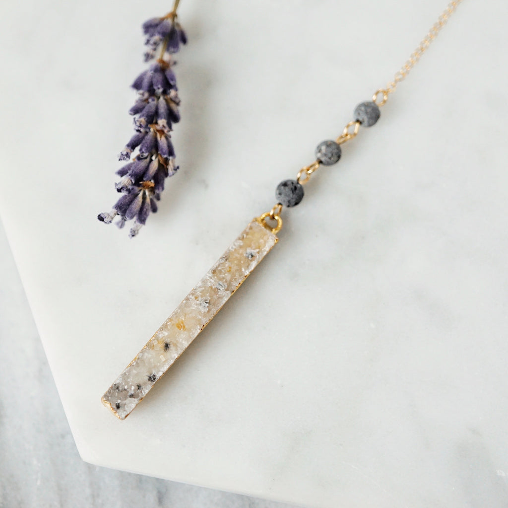 Druzy Bar Aromatherapy Necklace - one of a kind - choose your stone - Lava Essential Oils