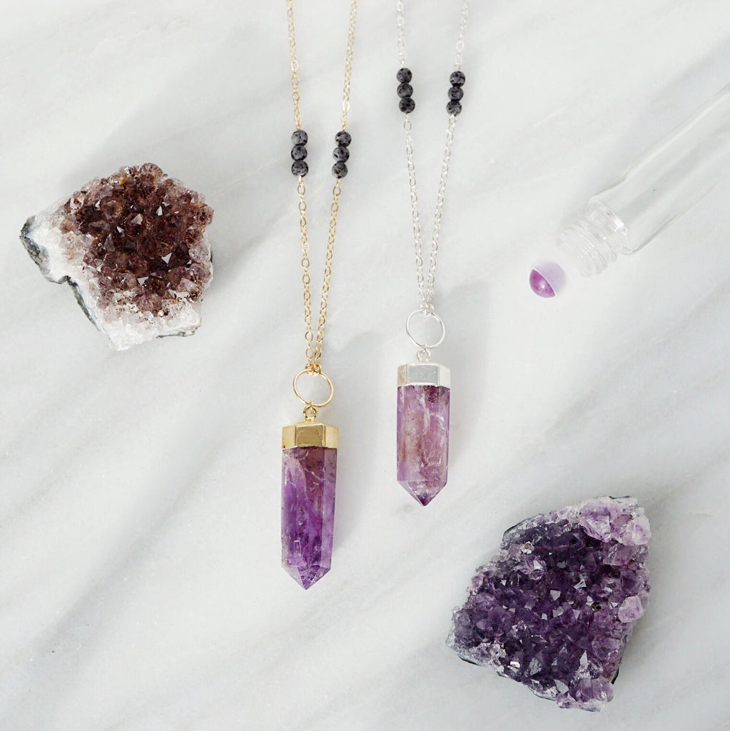 Amethyst Crystal Point Aromatherapy Necklace - Gold or Silver - Lava Essential Oils