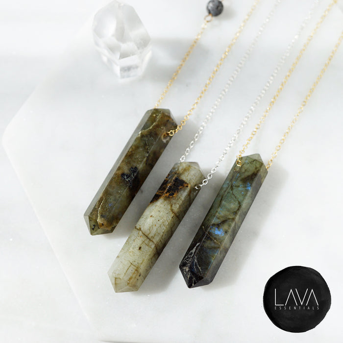Labradorite Infinity Crystal Aroma Necklace - Lava Essential Oils