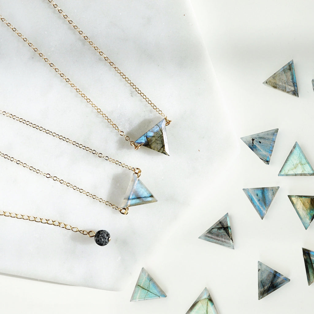 labradorite triangle, blue flash, labradorescence, diffuser necklace, lava necklace, essential oil necklace, crystal necklace, triangle stone