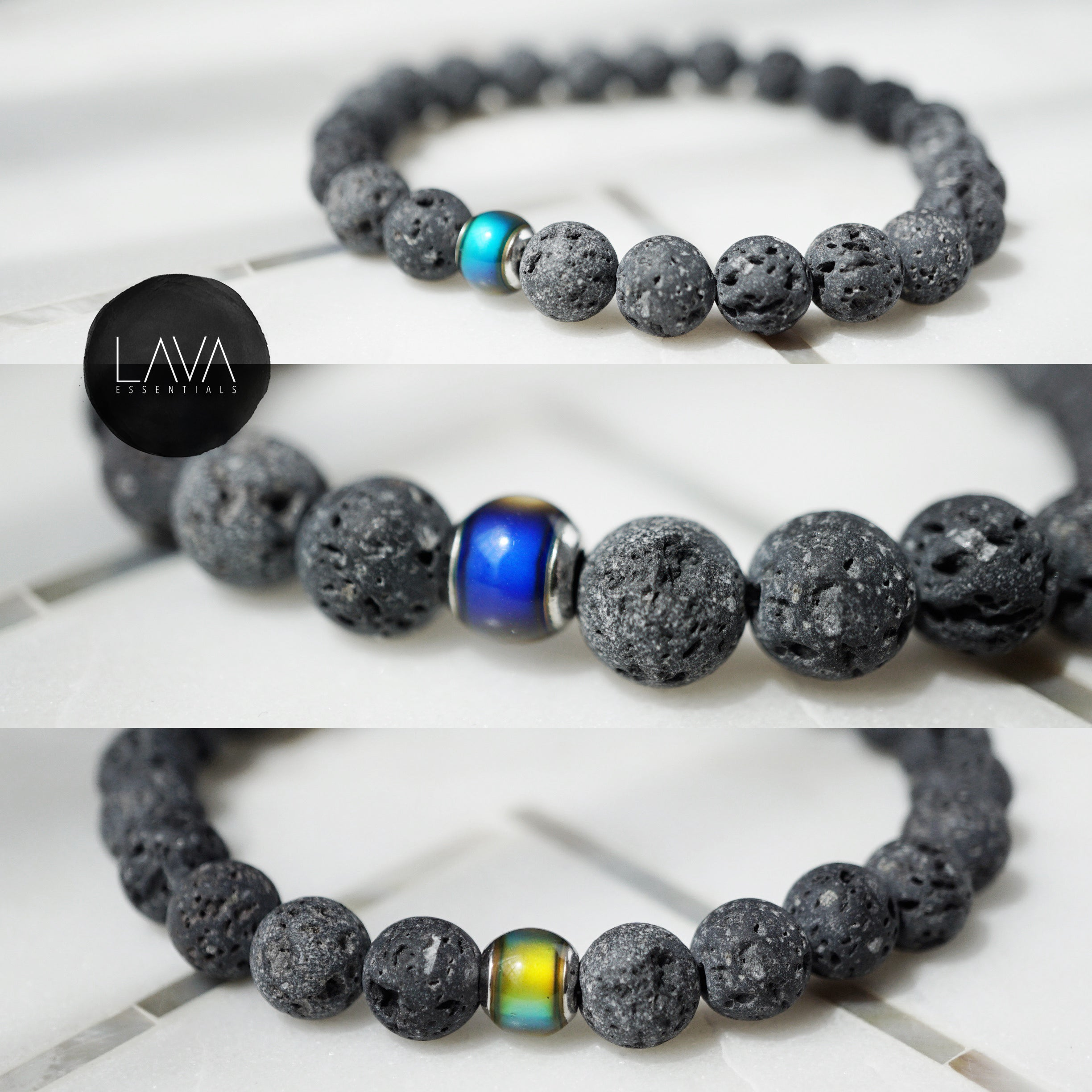 "Thermo-sensitive ""Mood"" Bead Aromatherapy Bracelet - Lava Essential Oils"