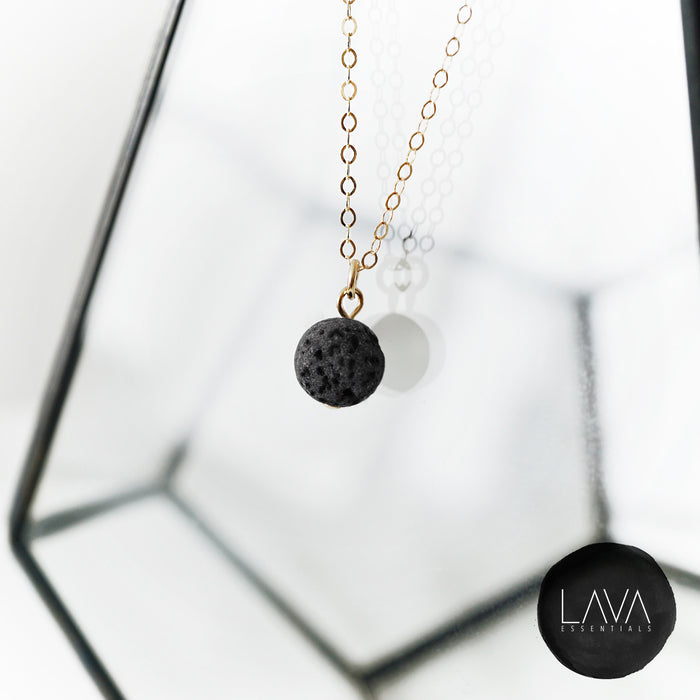 Dainty Lava Pendant Minimalist Single Lava Bead Essential Oil Diffuser Necklace - Lava Essential Oils