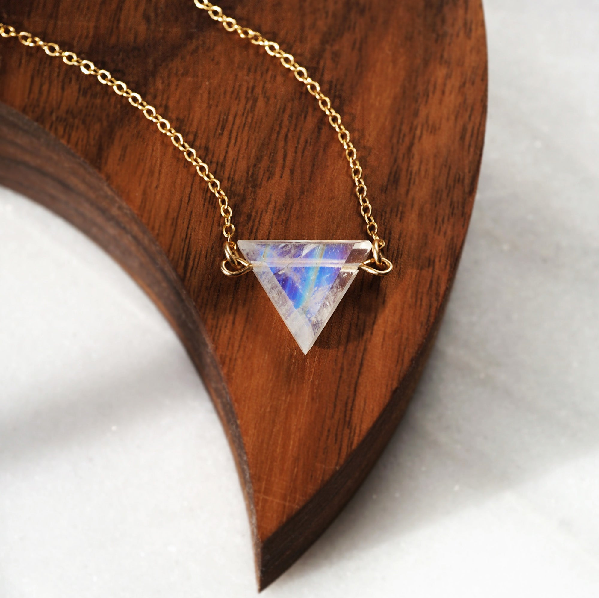 Petite Rainbow Moonstone Triangle Necklace, Natural Lava Extender