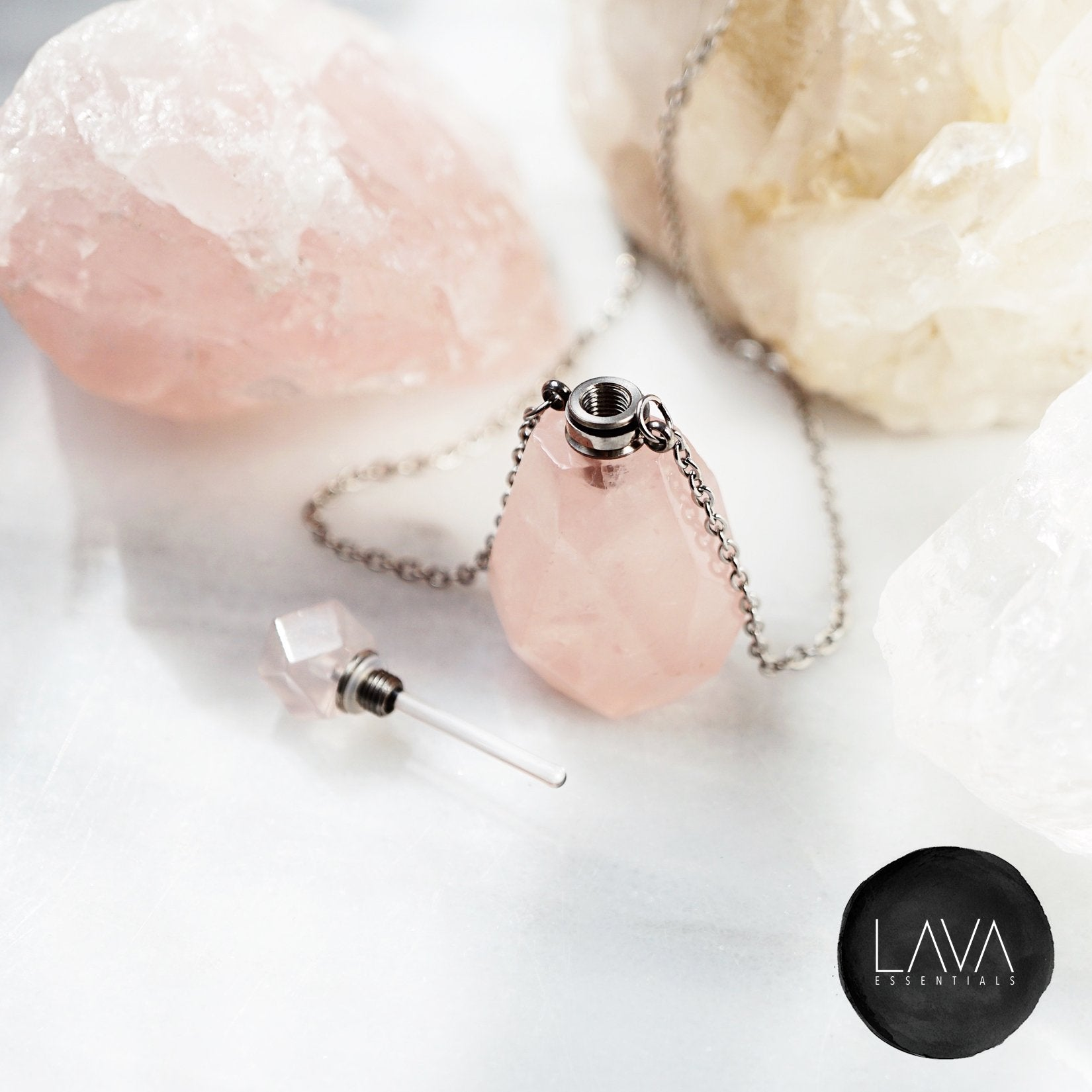 Rose Quartz Petite Gemstone Perfume Bottle Essential Oil Necklace with Glass Wand Applicator [S]+[G] - Lava Essential Oils