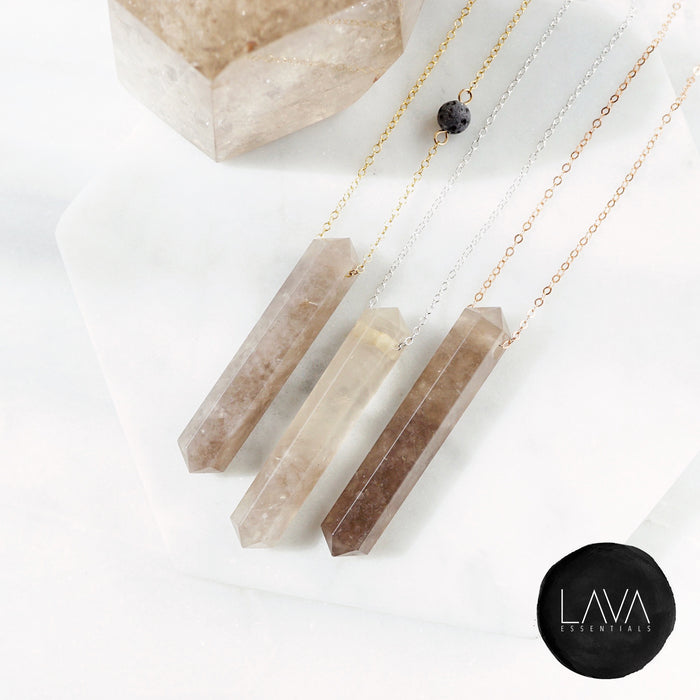 Smoky Quartz Crystal Infinity Aroma Necklace - Lava Essential Oils