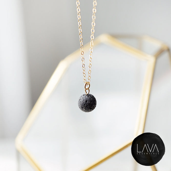 Dainty Lava Pendant Minimalist Single Lava Bead Essential Oil Diffuser Necklace - Multiple Chain Options - Lava Essential Oils