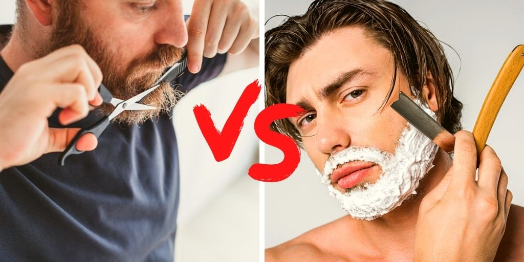 Man Trimming His Beard and Man Shaving His Beard with a Straight Razor