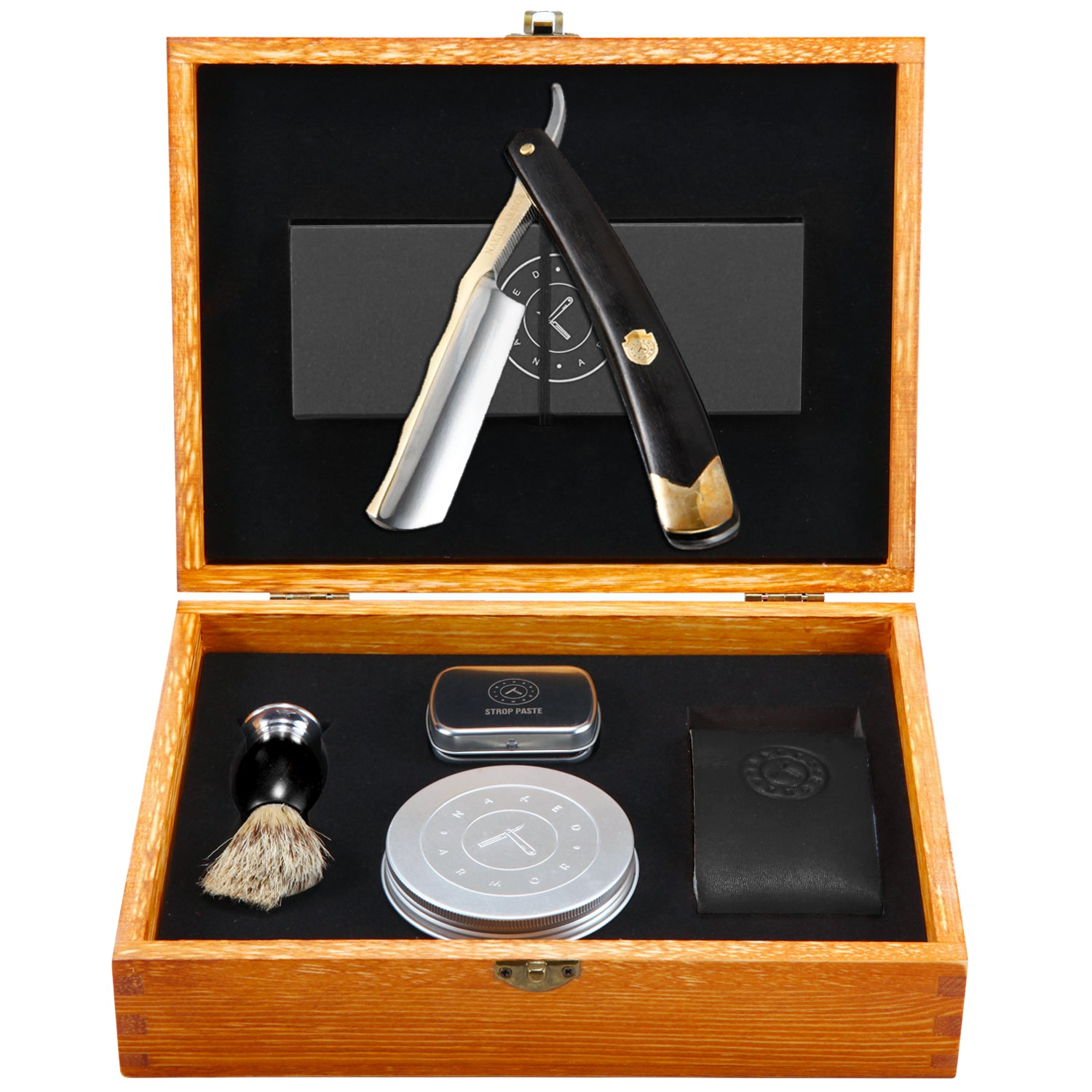 King Arthur Gold Stainless Steel Straight Razor Kit