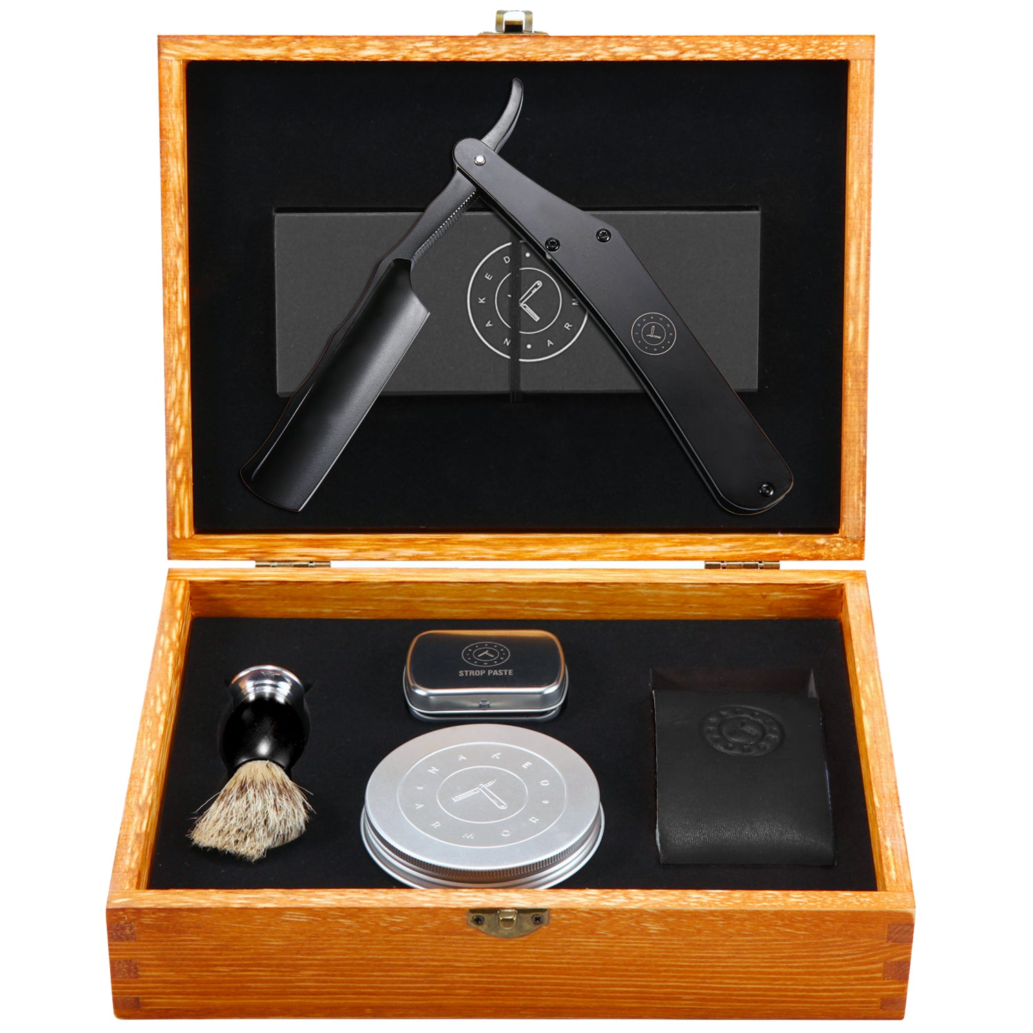 Stainless Steel Black Straight Razor Kit | Lancelot