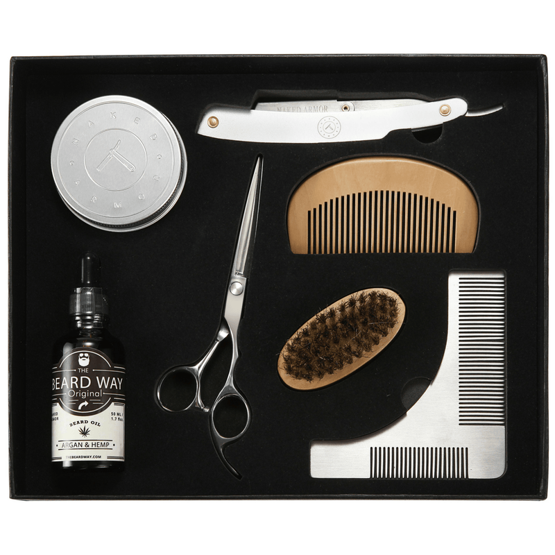 Grizzly Bear'd Grooming Kit + Straight Razor Shavette
