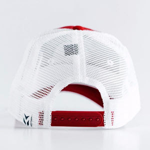 Women's Red and White Snapback Trucker
