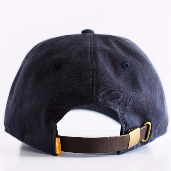 Navy Blue Cotton Twill Dad Hat with Leather Strap Closure – yudugear.com be5583a76e1