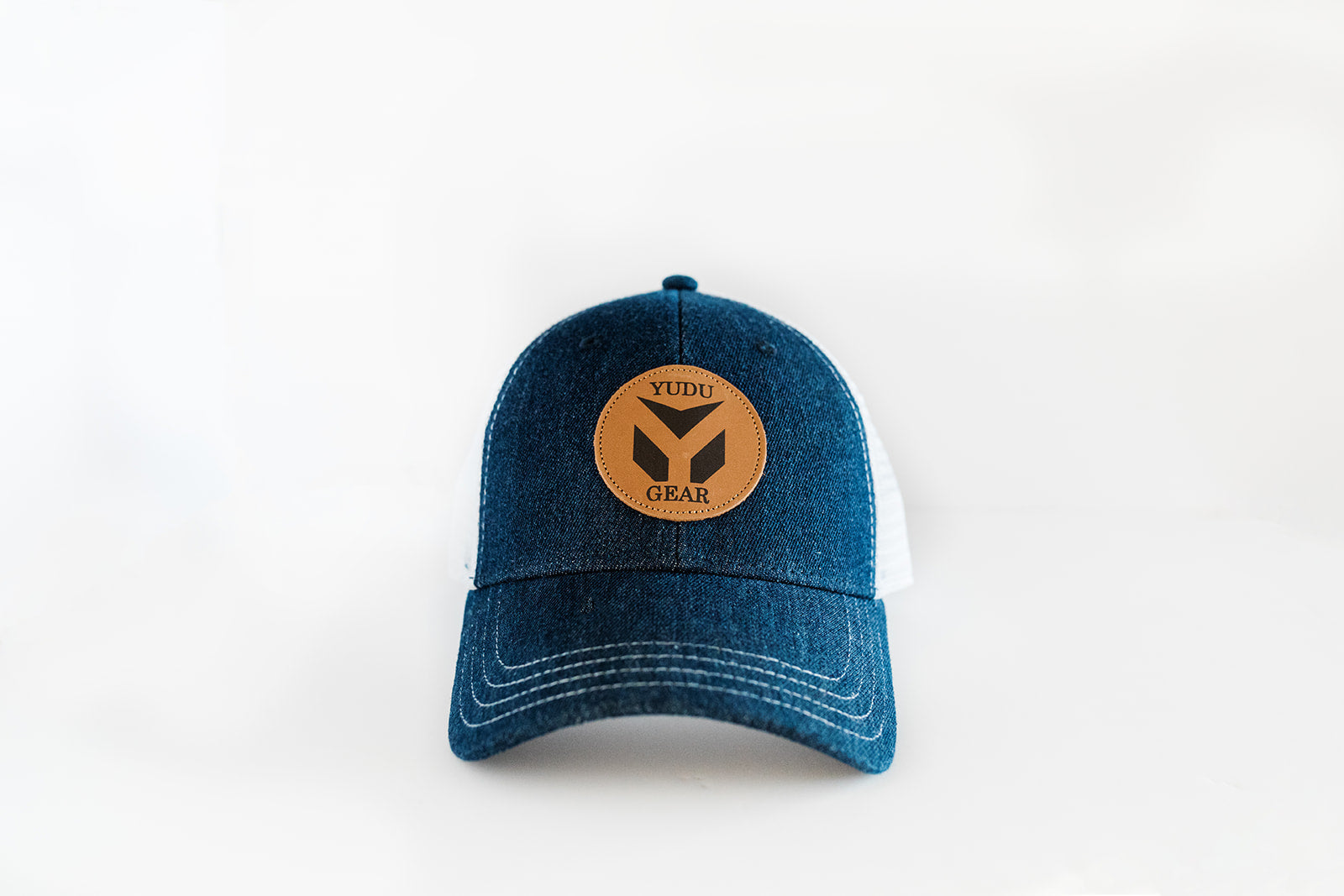 Buckskin Collection - Denim/White Snapback Trucker Hat with Leather Patch