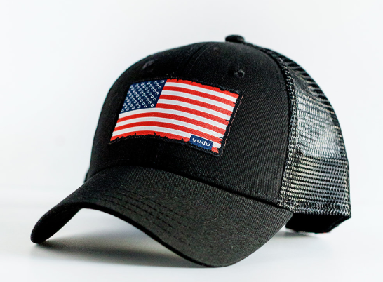 Freedom Collection - Black Snapback Trucker USA Flag Hat