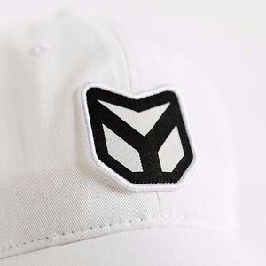 White Twill Dad Hat with Black Jacquard Woven Label Patch