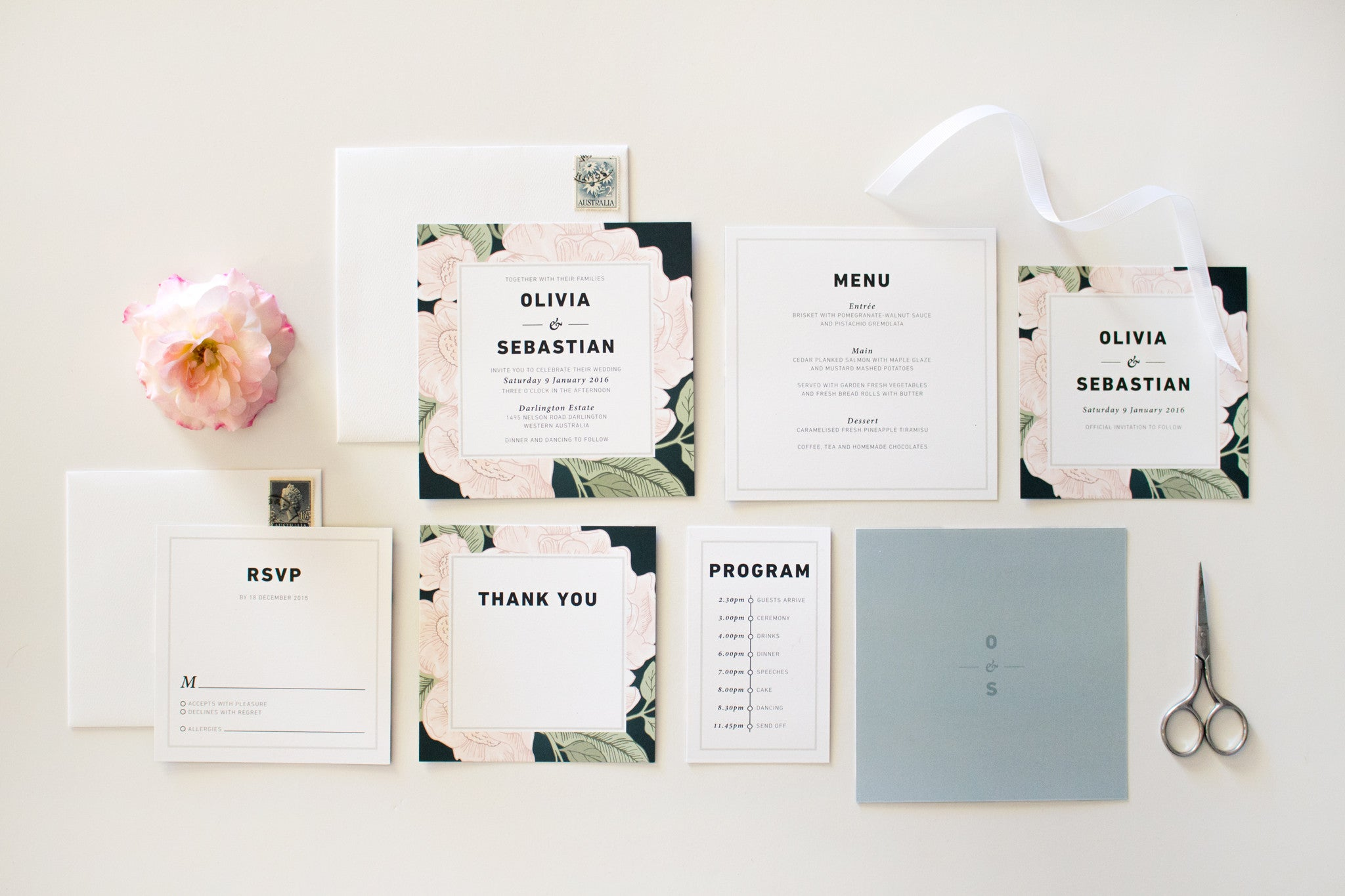 Wedding Invitation | Blooms | Designed in Perth, Australia