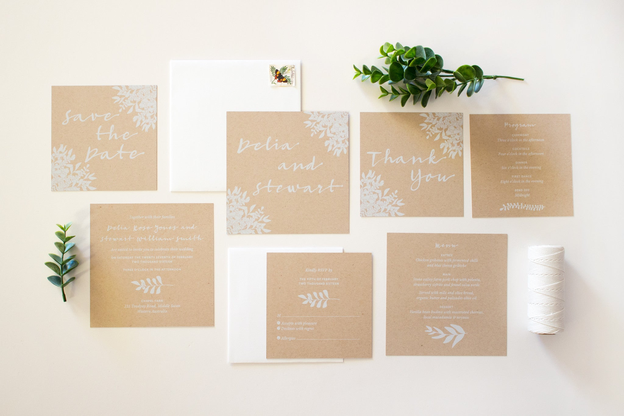 Wedding Menu | Eucalyptus | Designed in Perth, Australia