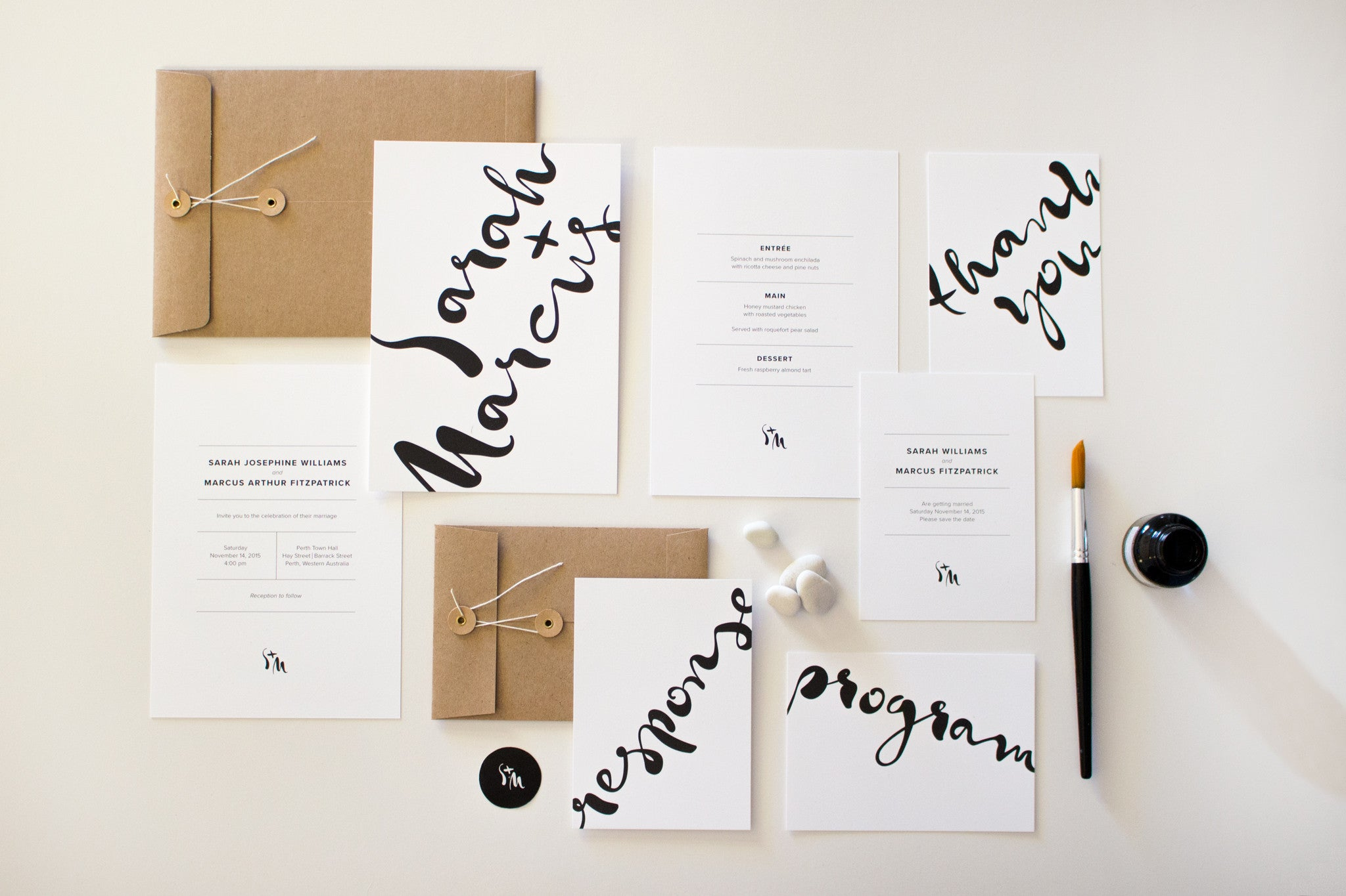 Wedding Stationery Suite | Monochrome Minimalist | Designed in Perth ...