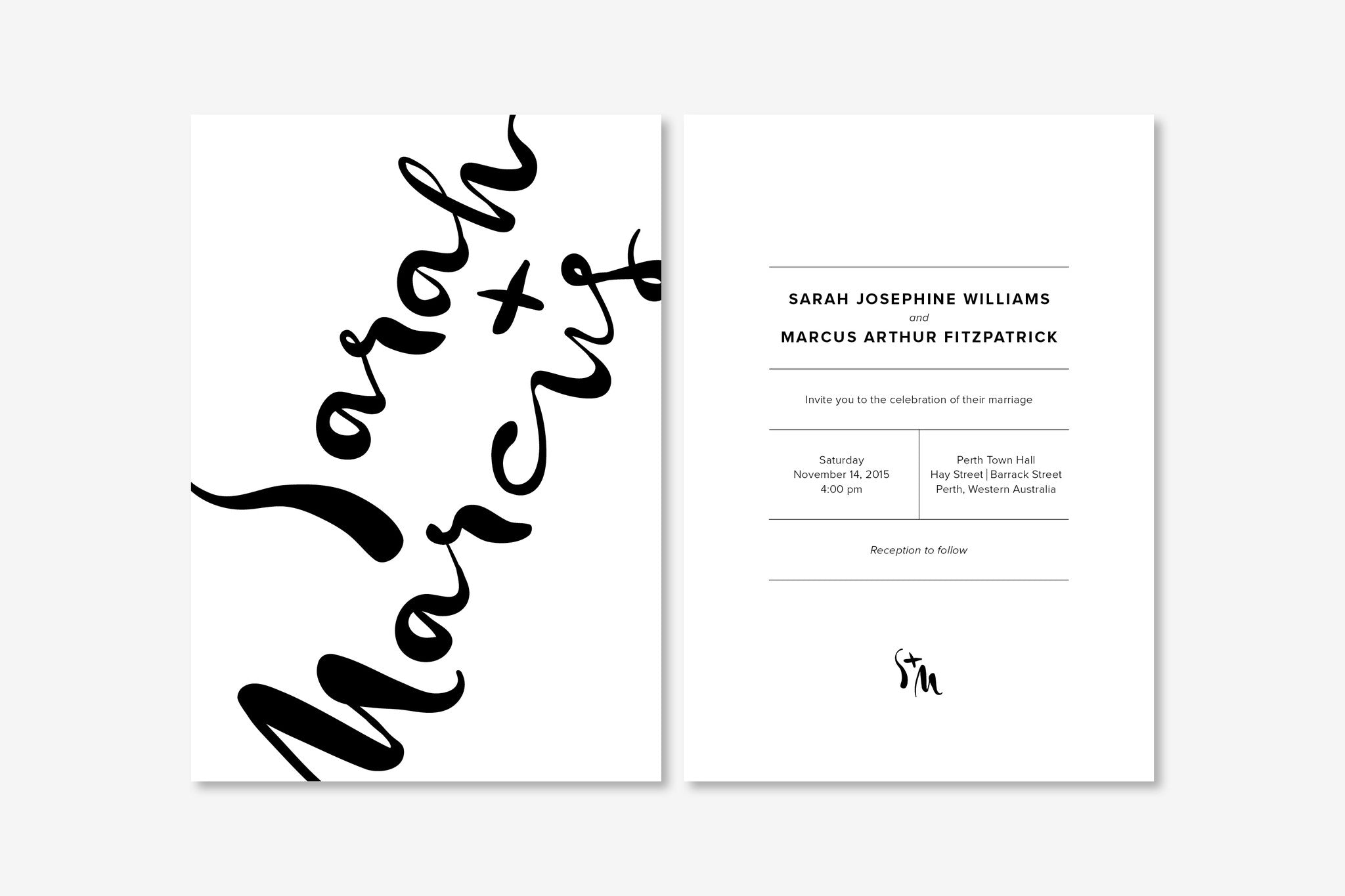 Wedding Invitation | Monochrome Minimalist | Designed in Perth ...