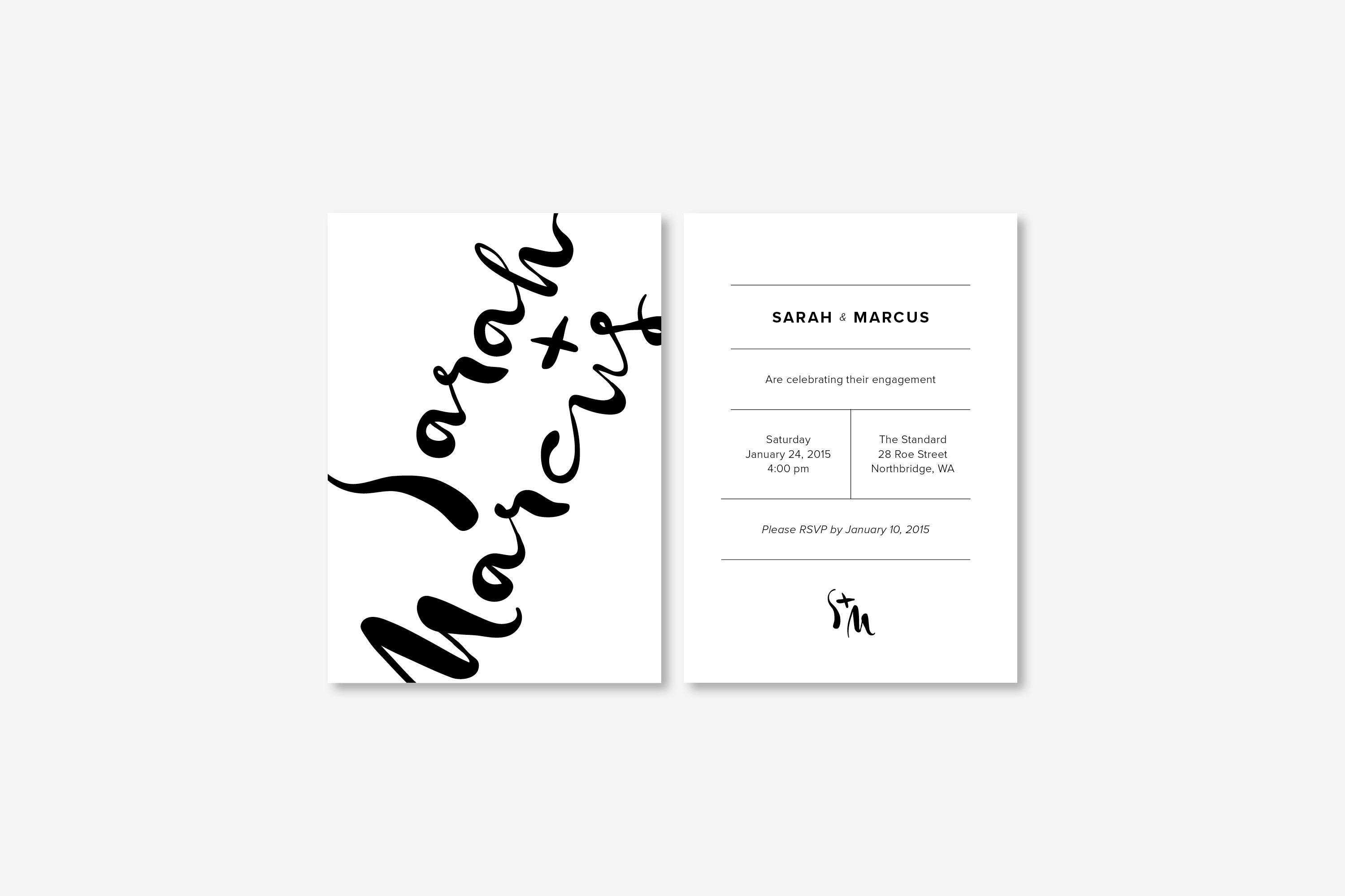 Engagement Invitation Monochrome Minimalist Designed in Perth