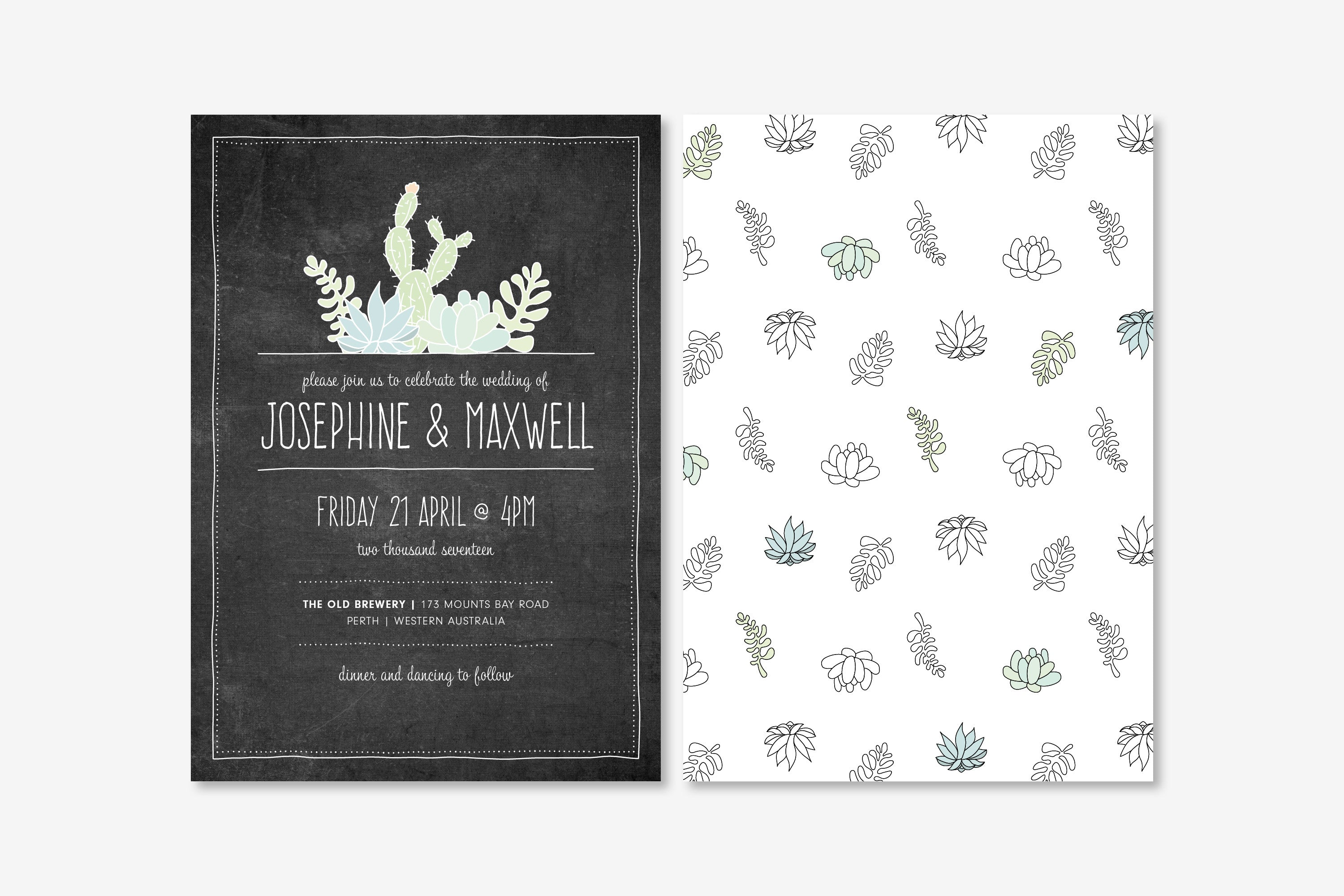 Wedding Invitation | Succulents on Chalk | Designed in Perth ...