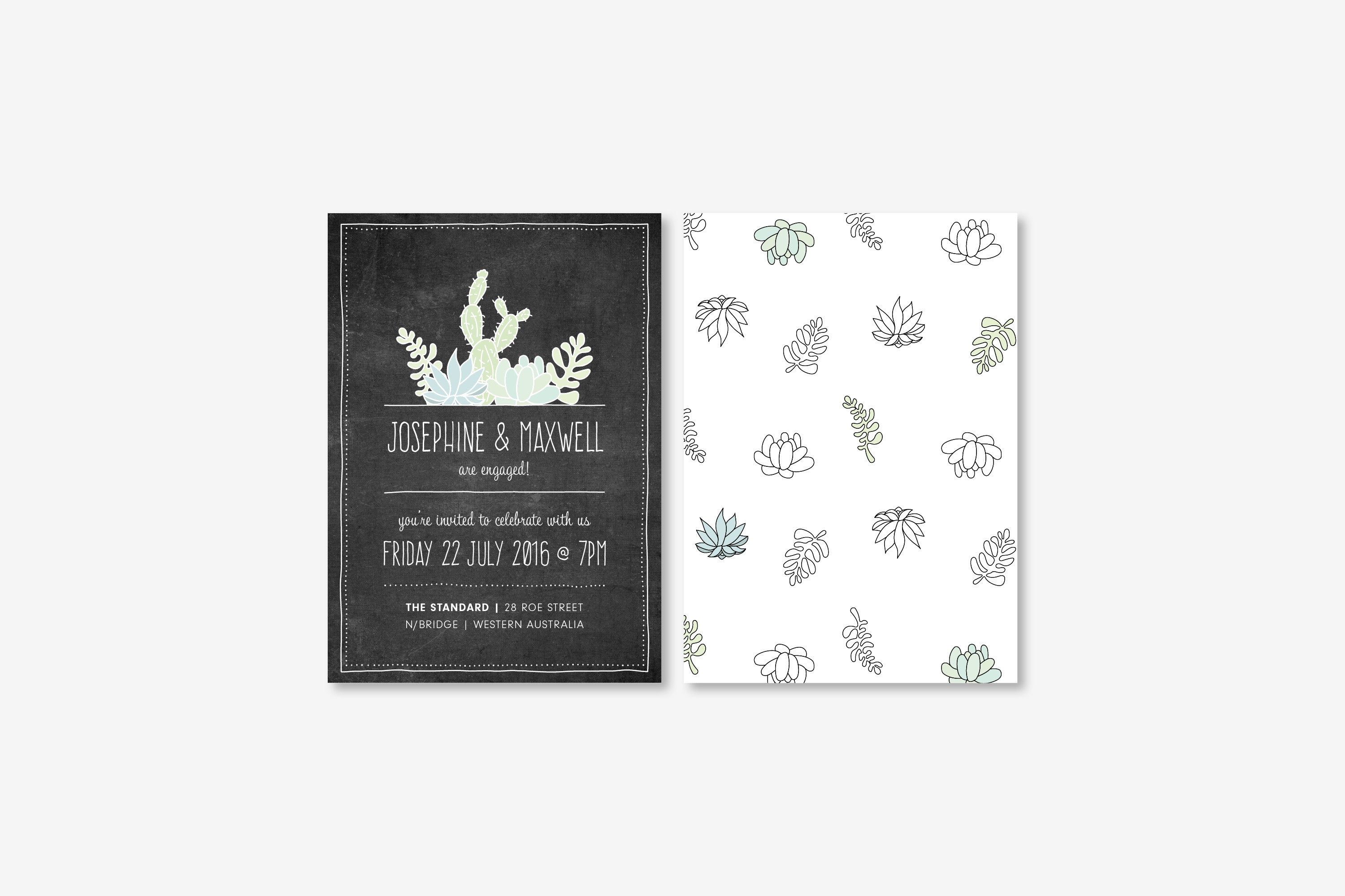 Succulents on Chalk | Invitation Engagement