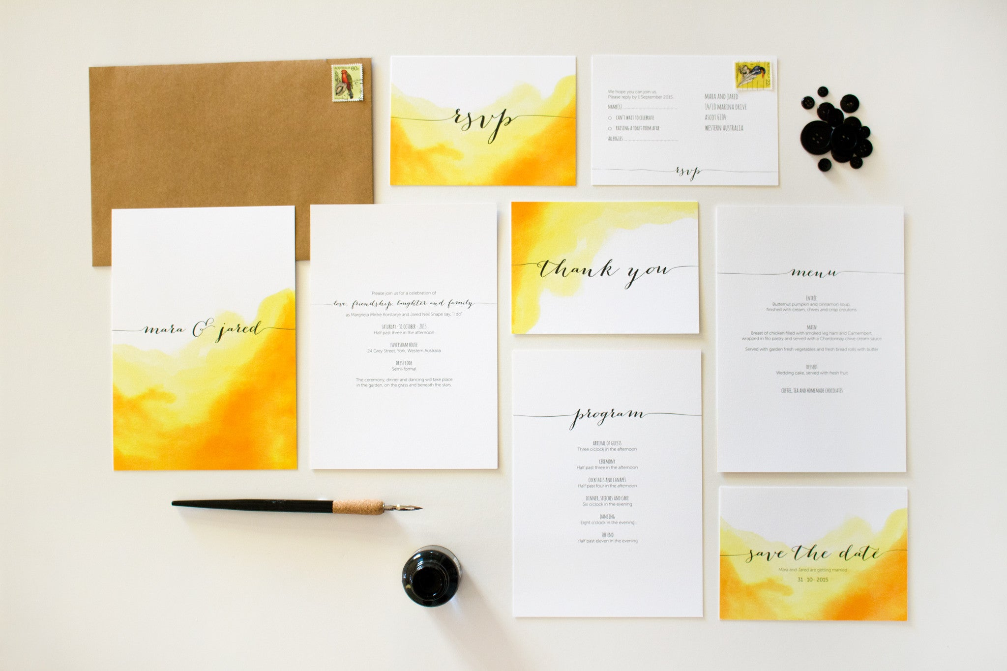 Wedding Stationery Suite | Watercolour | Designed in Perth ...