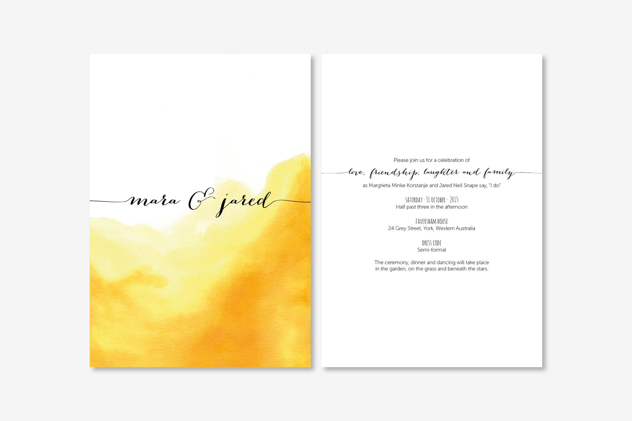 Wedding Invitation | Watercolour | Designed in Perth, Australia ...