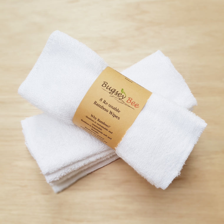 Bamboo Reusable Cloth Wipes - Set of 8