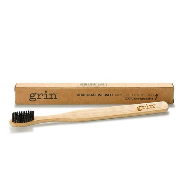 Natural & Biodegradable Bamboo Toothbrush - Grin Charcoal-Infused