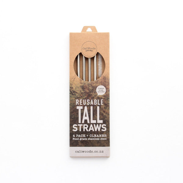 CaliWoods Reusable Tall Metal Straws