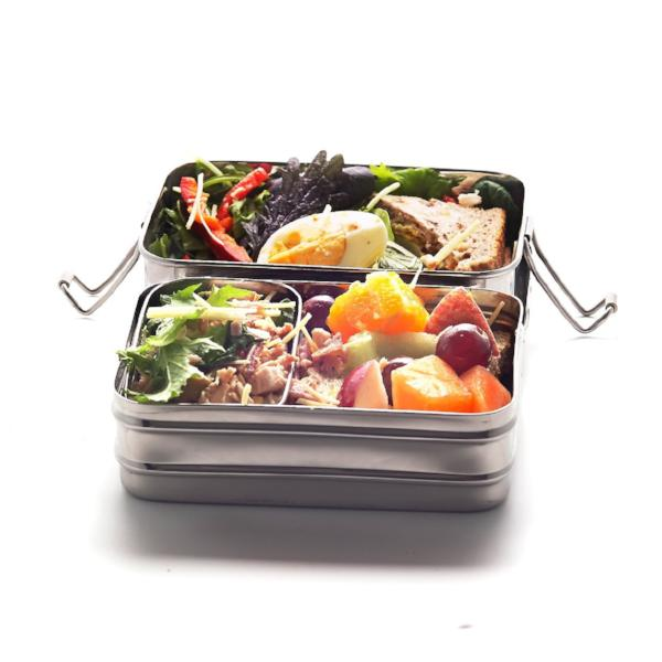 Stainless Steel Lunchbox Double-Layer Rectangular