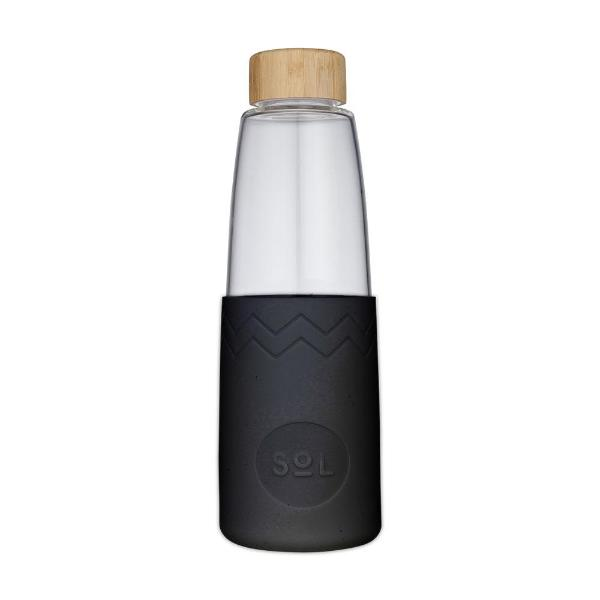 Sol Reusable Glass Water Bottle - Black
