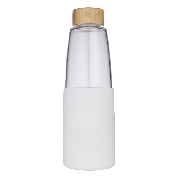 Sol Glass Water Bottle - White Wave