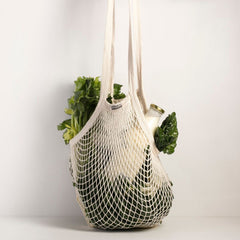 Organic Cotton String Shopping Bag with long handle